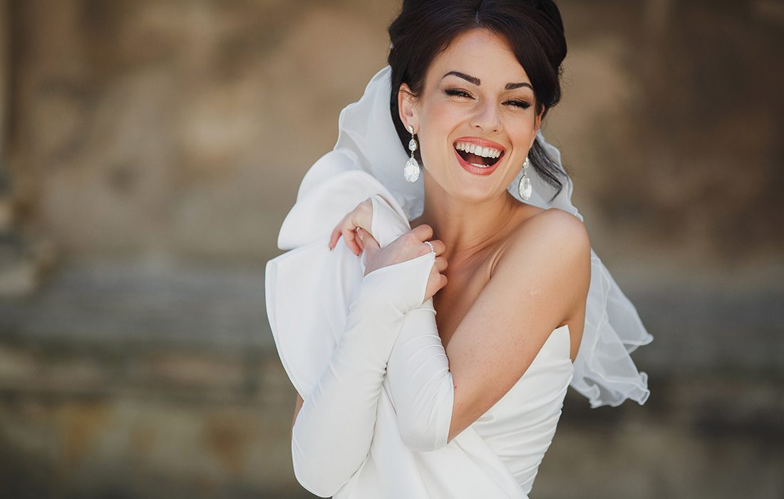 Happy bride on her wedding day