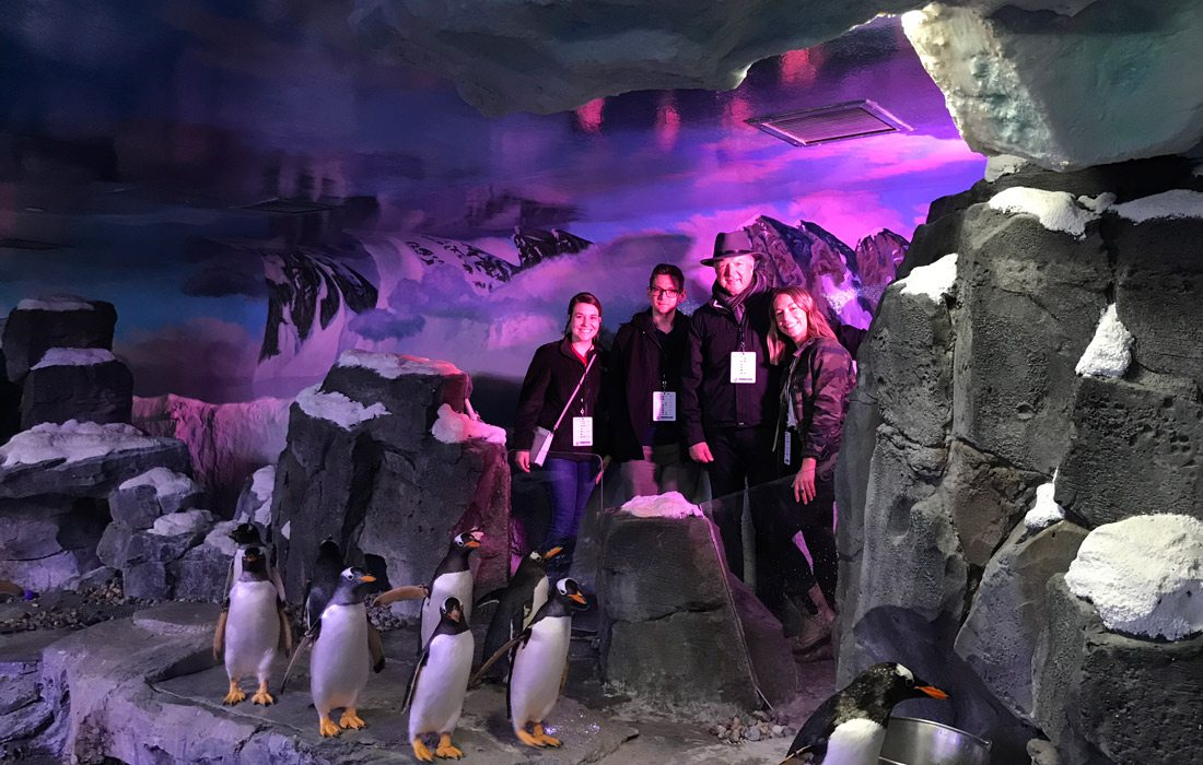 417 Magazine team at Wonders of Wildlife penguin exhibit