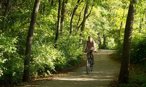 Man riding a bike on the Galloway Creek Greenway in Springfield MO