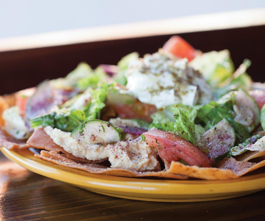 Lebanese pita chip nachos with gyro meat, tomatoes, romaine lettuce, cucumber, green onion, radish and garlic