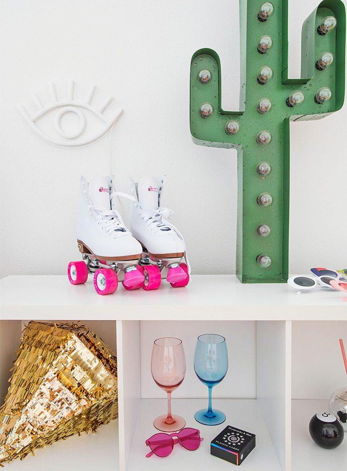 retro roller blades, cactus and colorful decor