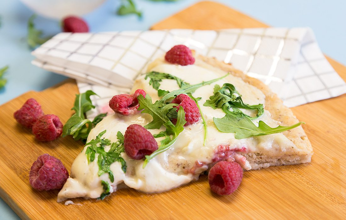 Cream Sauce Pizza with Raspberries and Arugula from Weekday Weekend cookbook