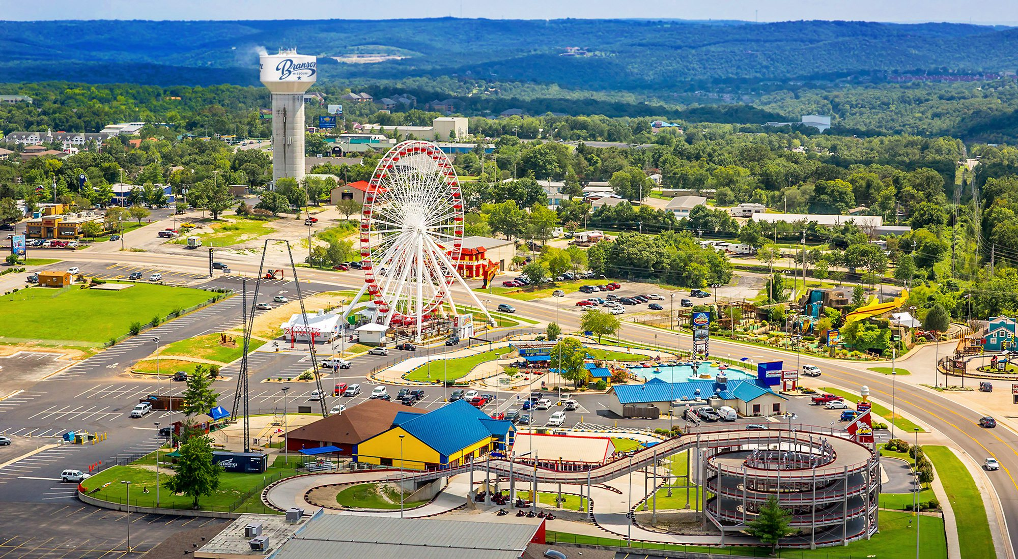 The Track Family Fun Park and the Branson, Missouri Skyline