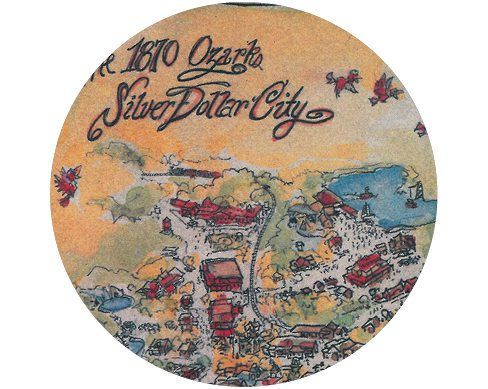 Old Map Illustration of 1880's-themed amusement park, Silver Dollar City.