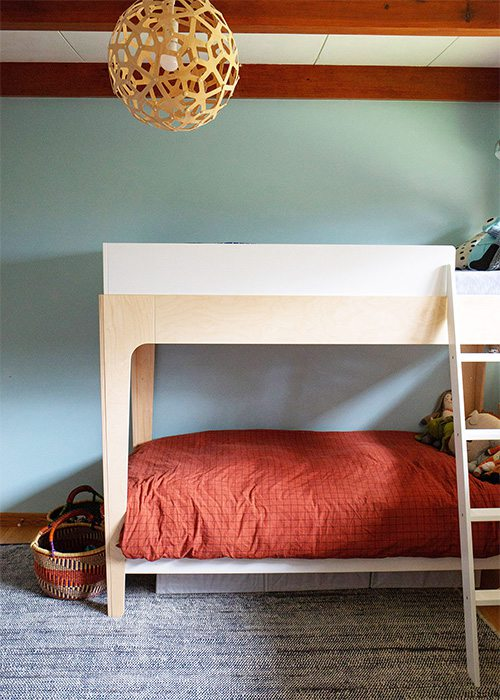 light blue green accent wall with salmon colored bedding