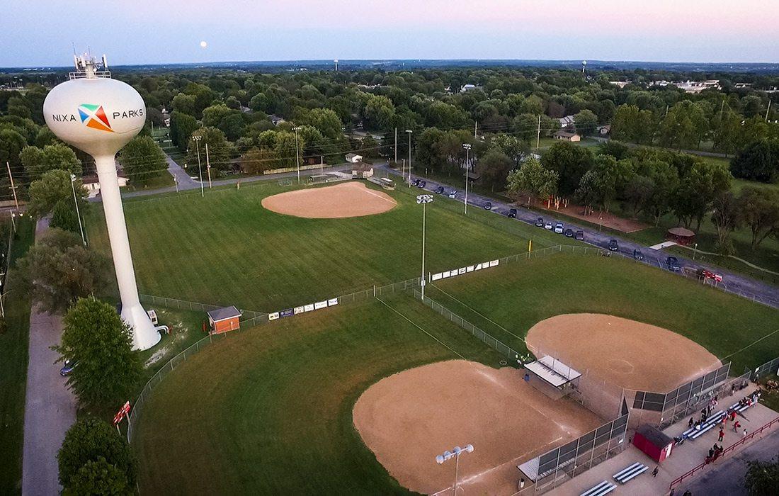 Three baseball fields aerial shot