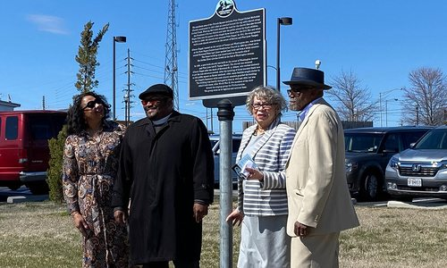 Springfield MO residents at a stop along the African American Heritage Trail