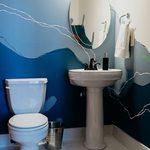 Slider Thumbnail: Sea mural in powder bathroom by Kori Smalley.
