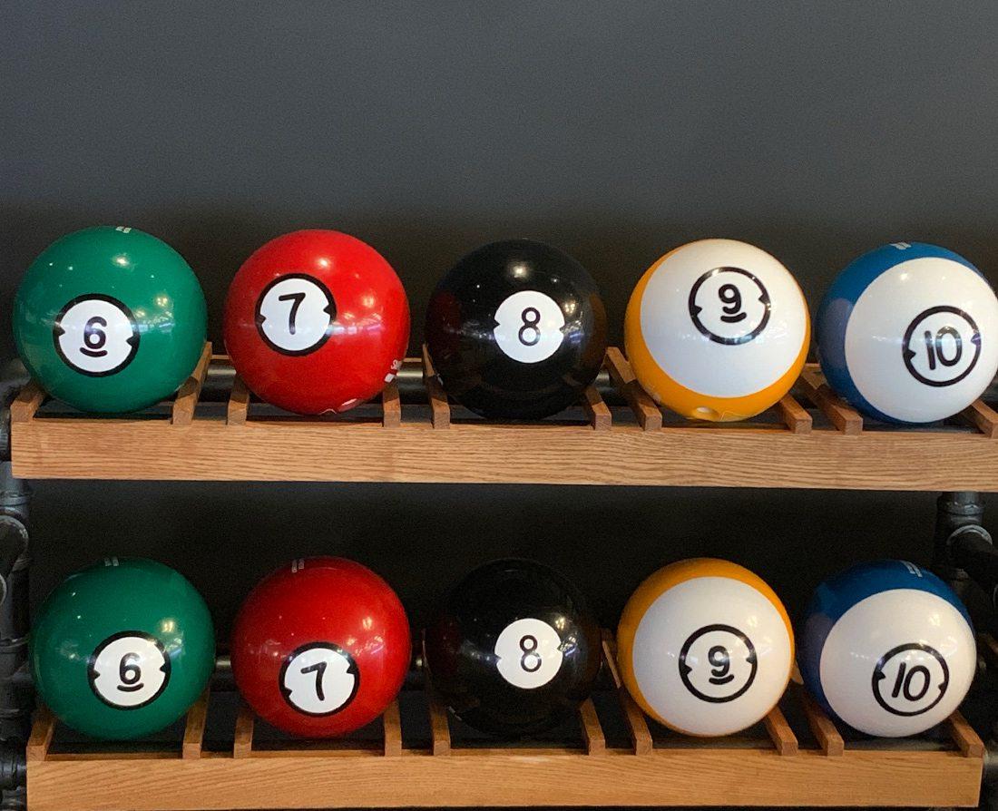 Andy B's Bowl Social in Branson Landing bowling balls