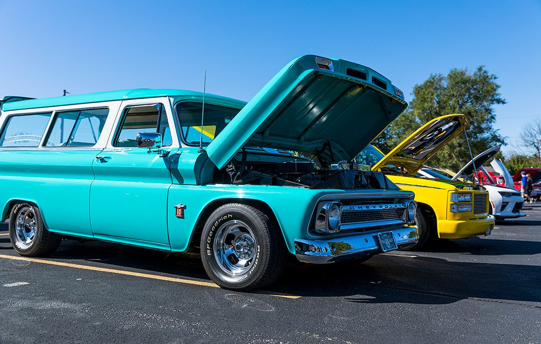Classic cars on display outdoors