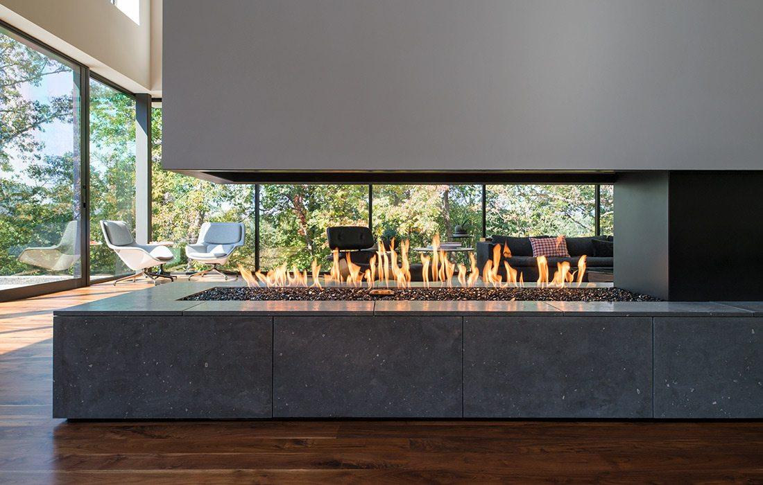 Interior Arkifex Studios design fireplace close-up
