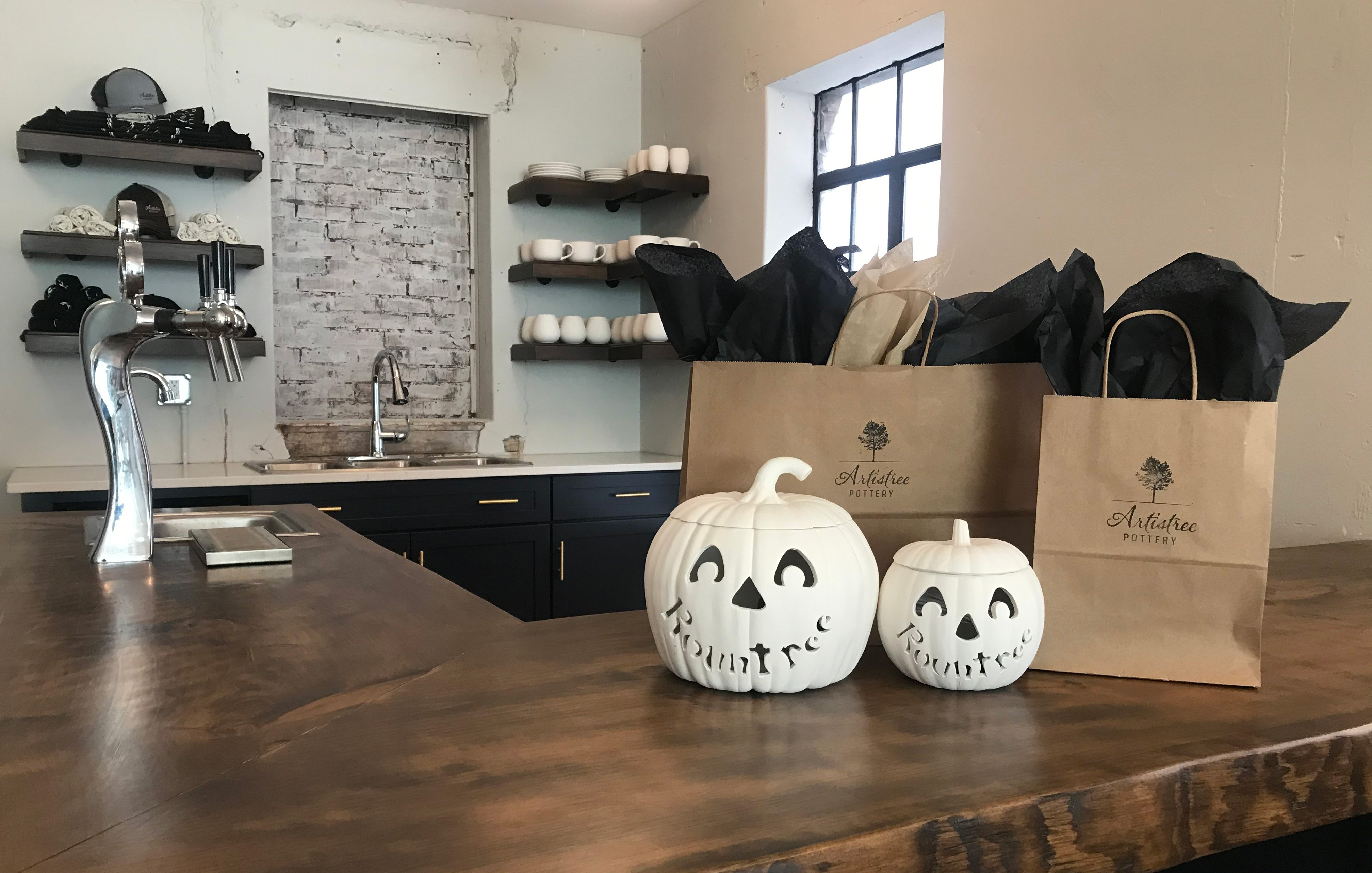 Seasonal paint-your-own pumpkins at Artistree Pottery in Springfield MO