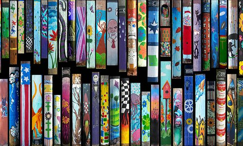 Painted Utility Poles in the Moon City Creative District in Springfield, MO