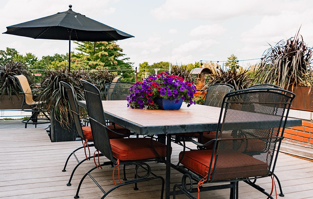 outdoor table on rooftop