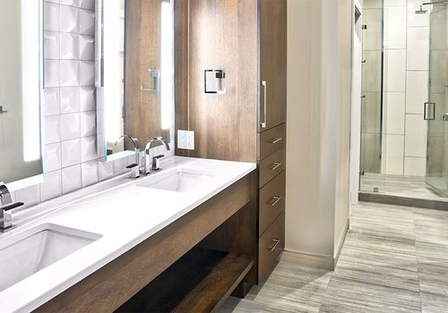 Modern bathroom remodel by A. Deckard Interiors in Springfield MO