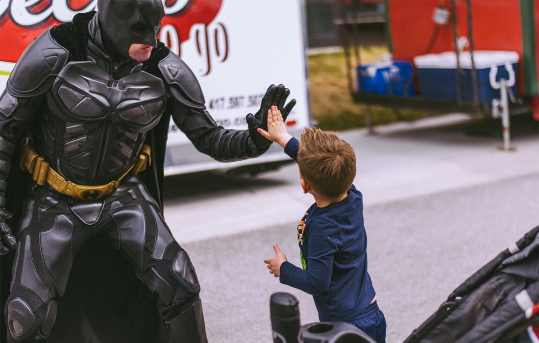 batman in springfield at a charity event