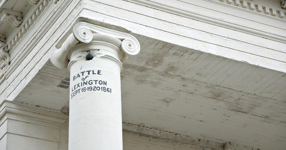 Battle of Lexington MO on a building column