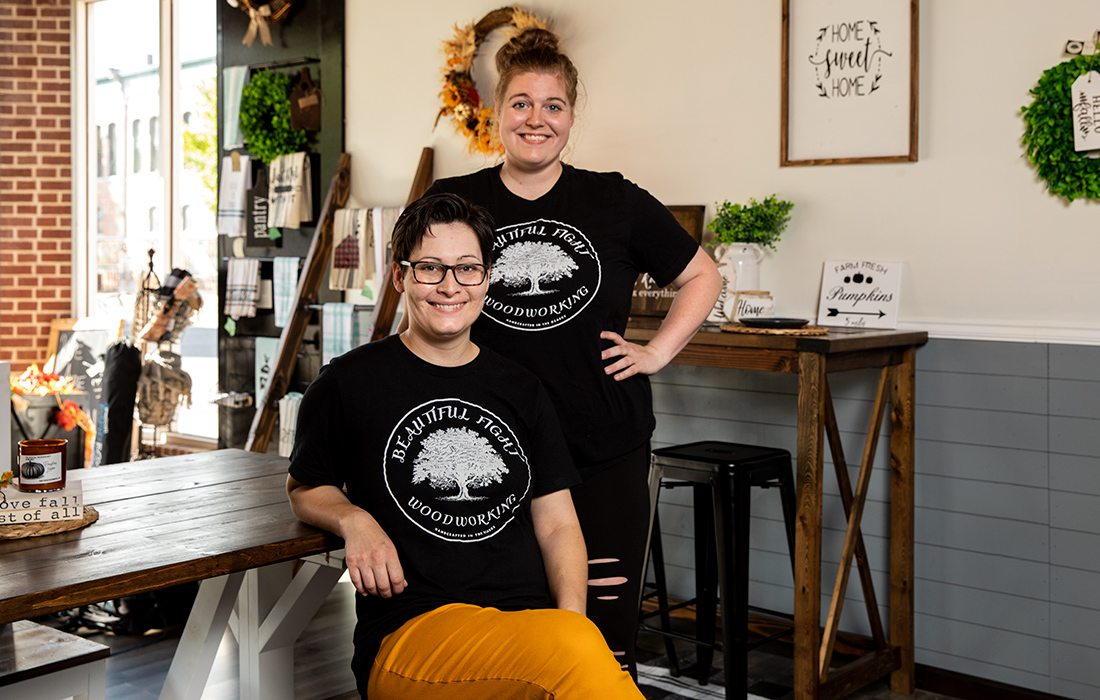 Brittany and Heather Dyer of Beautiful Fight Woodworking in Springfield MO