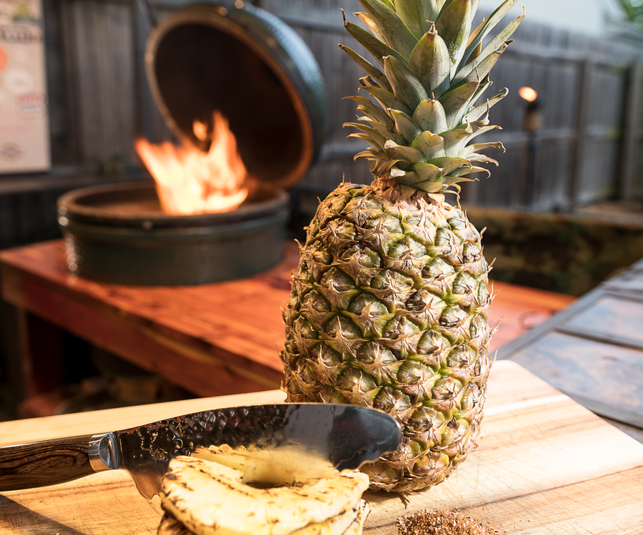 Grilled pineapple on Big Green Egg