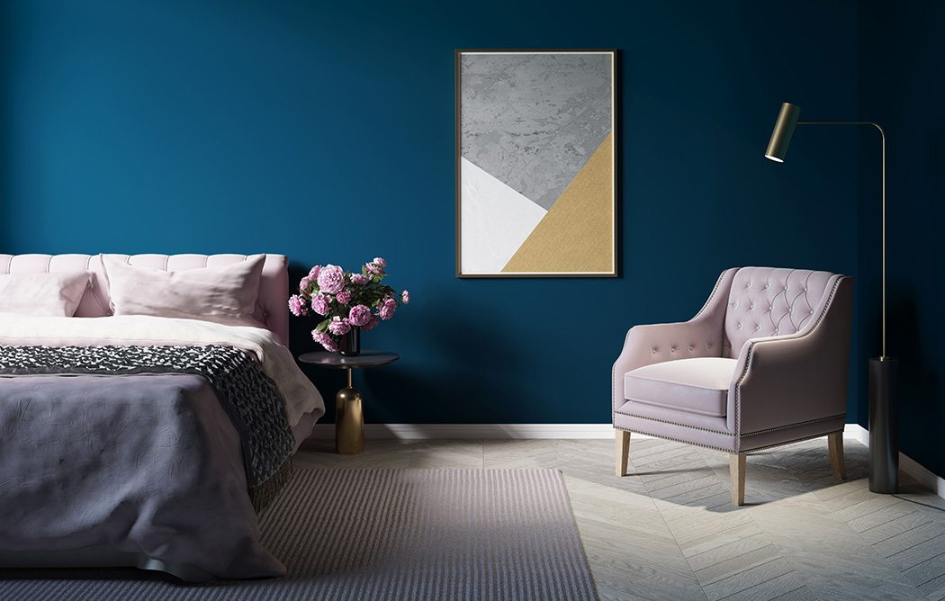 Blue Wall Bedroom
