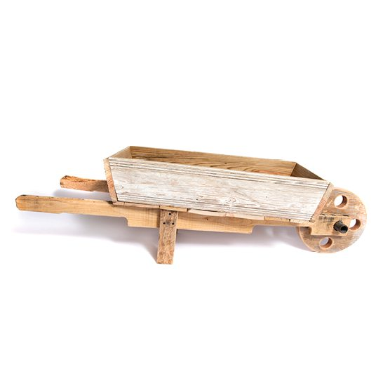 wooden wheelbarrow at Wood & Twig