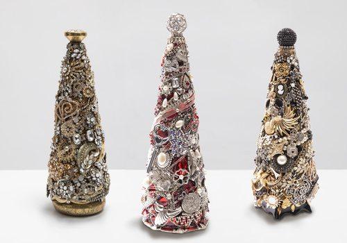 Bejeweled Christmas trees from Kathi Shimp's Etsy store