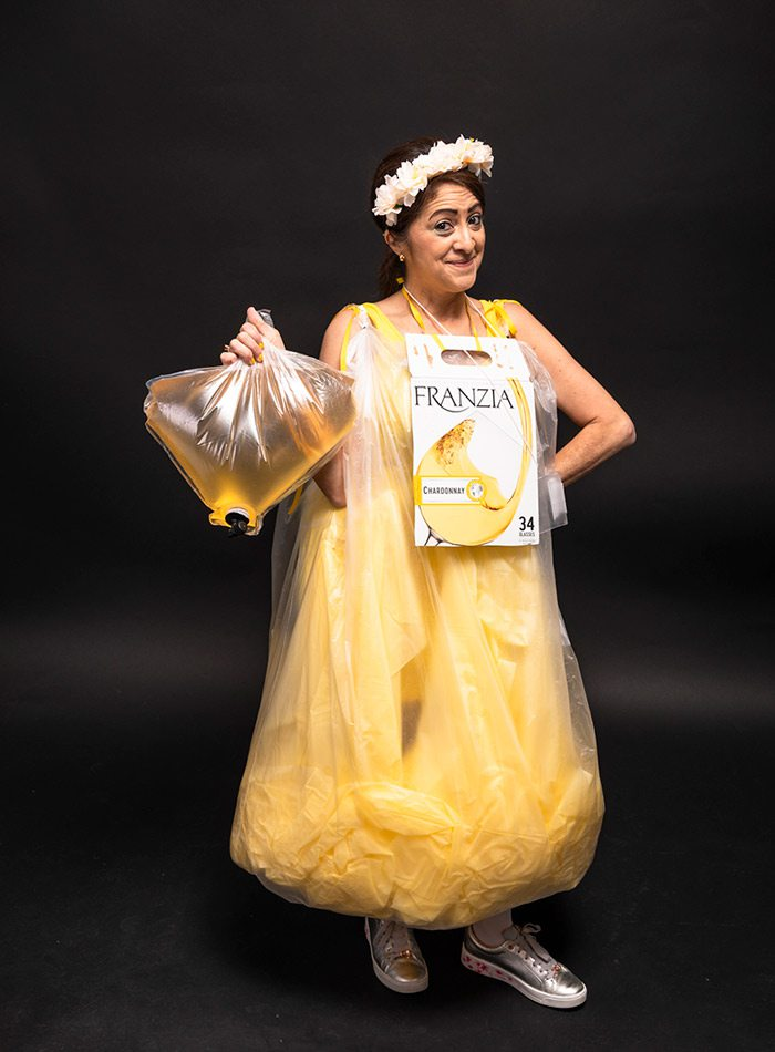 Bernadette Pry as a bag of wine for Halloween 2019