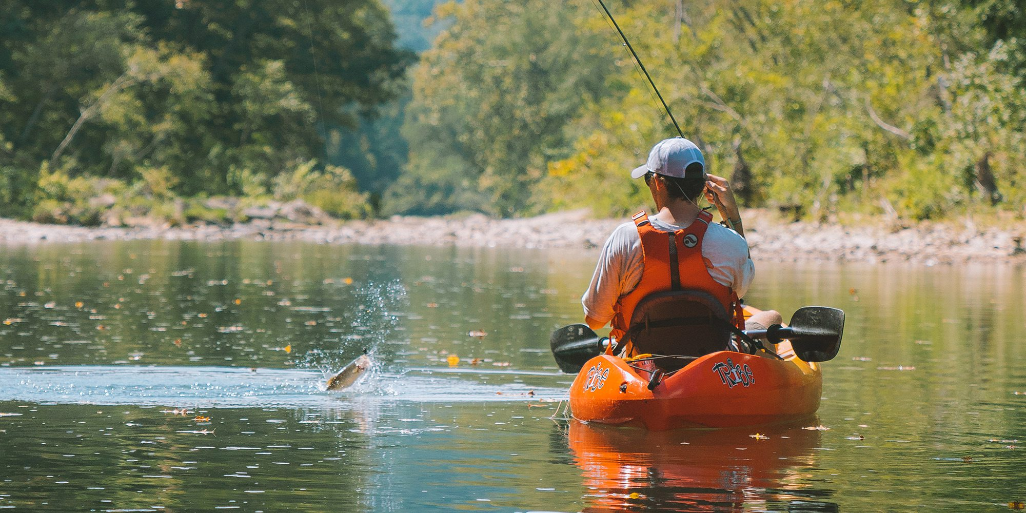 Fishing in a kayak on the Mulberry River