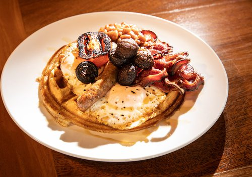 Full English waffle at Best of Luck in Springfield MO