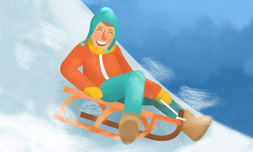 Snow sledding illustration