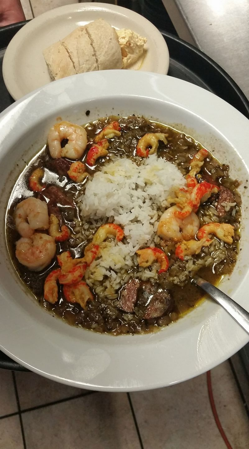 Try one of the gumbos, like the Cajun shrimp concoction.
