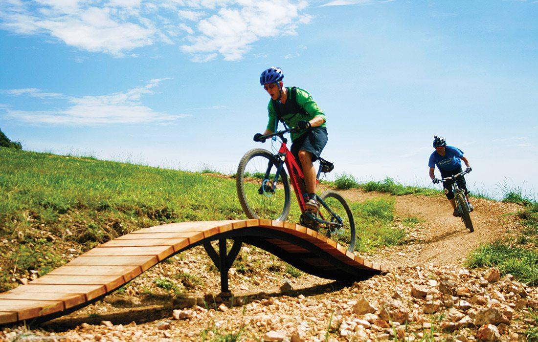 Mountain biking at Two Rivers Bike Park in Missouri