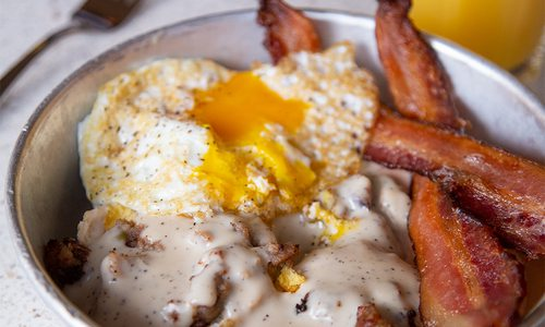 Biscuits and gravy from The Backlot at Alamo Drafthouse in Springfield, MO.