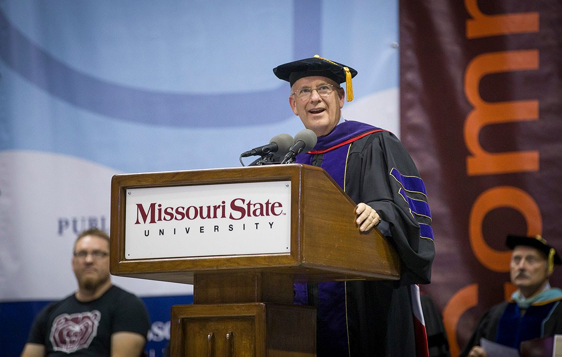Clif Smart speaking at the New Student Convocation on August 21, 2016, at JQH Arena