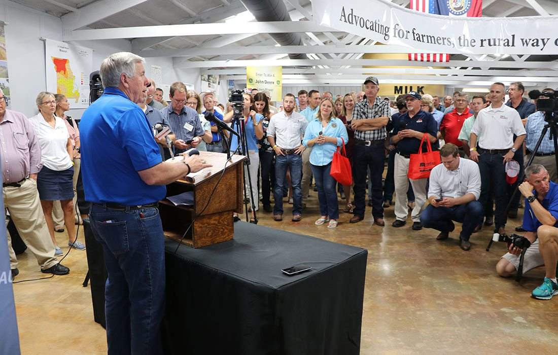 Missouri Governor Mike Parson speaking to rural farmers