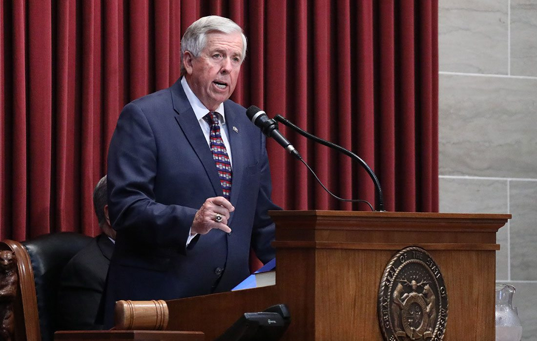 Missouri Governor Mike Parson speaking at his first general assembly