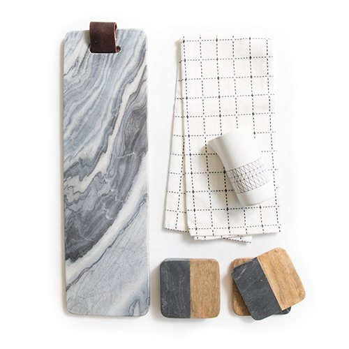 Marble Tray, Grid Hand Towel, Pitcher, Wood and Marble Coasters