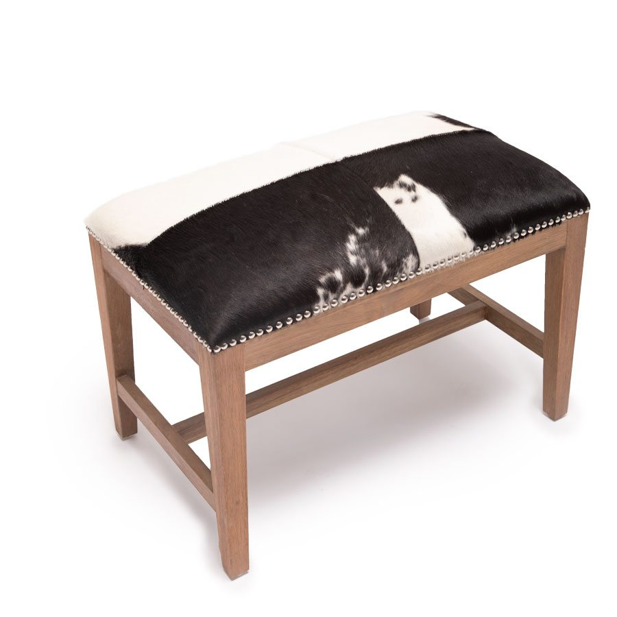 Houston Cowhide bench from Obelisk Home