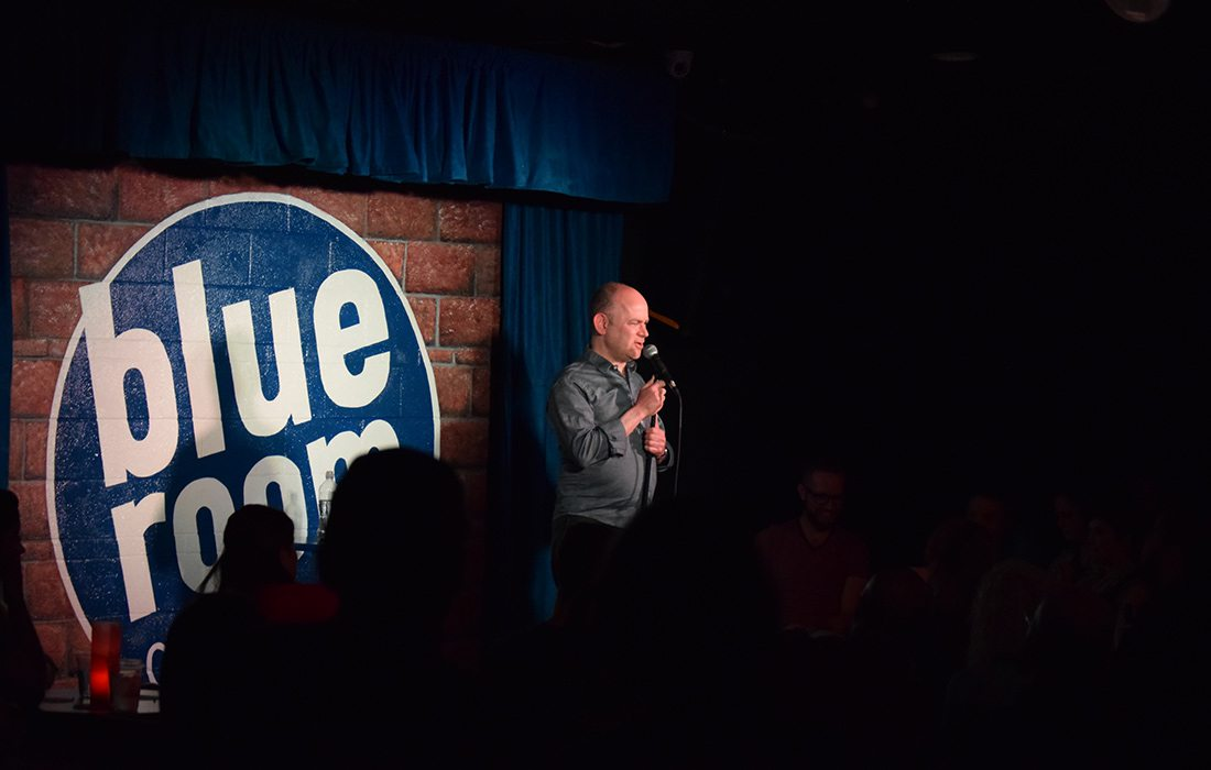 Comedian Todd Barry at the Blue Room Comedy Club in Springfield, MO.
