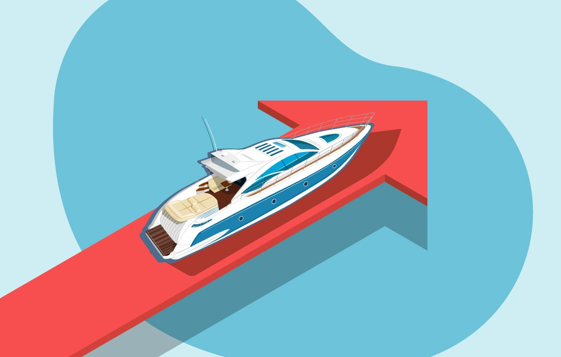 Boat on a red arrow illustration