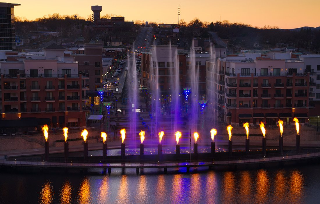 Lights and fountains show overlooking the water at Branson Landing, Branson, MO