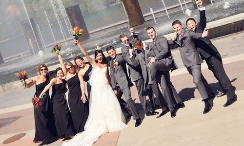 Wedding party celebrating with Branson Dream Weddings
