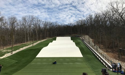 Snow Tube Without Snow at Wolfe Mountain Outside of Branson