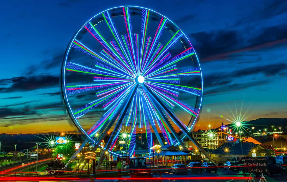 The colorful Branson Ferris Wheel  located in Branson, MO.