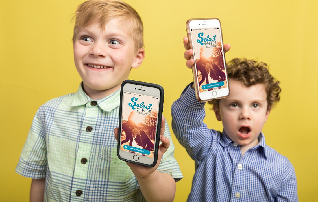 Kari Hamra's son (left) and Adam and Sarah Howey's son (right) holding phones that show off the SelectSitter app.