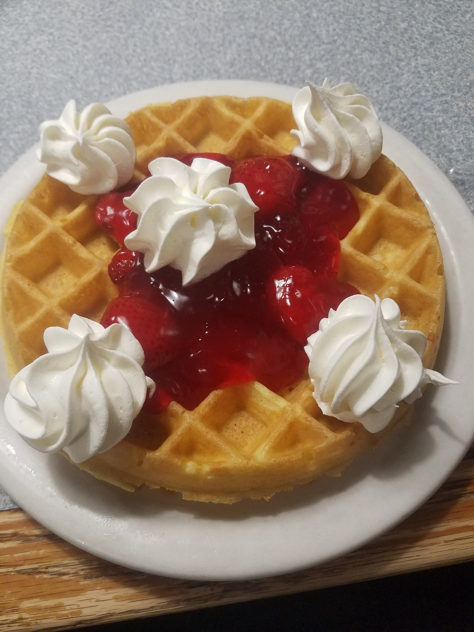 Belgian waffles can come with whipped cream or fruit toppings and are known to be a real treat at this Ozark restaurant.