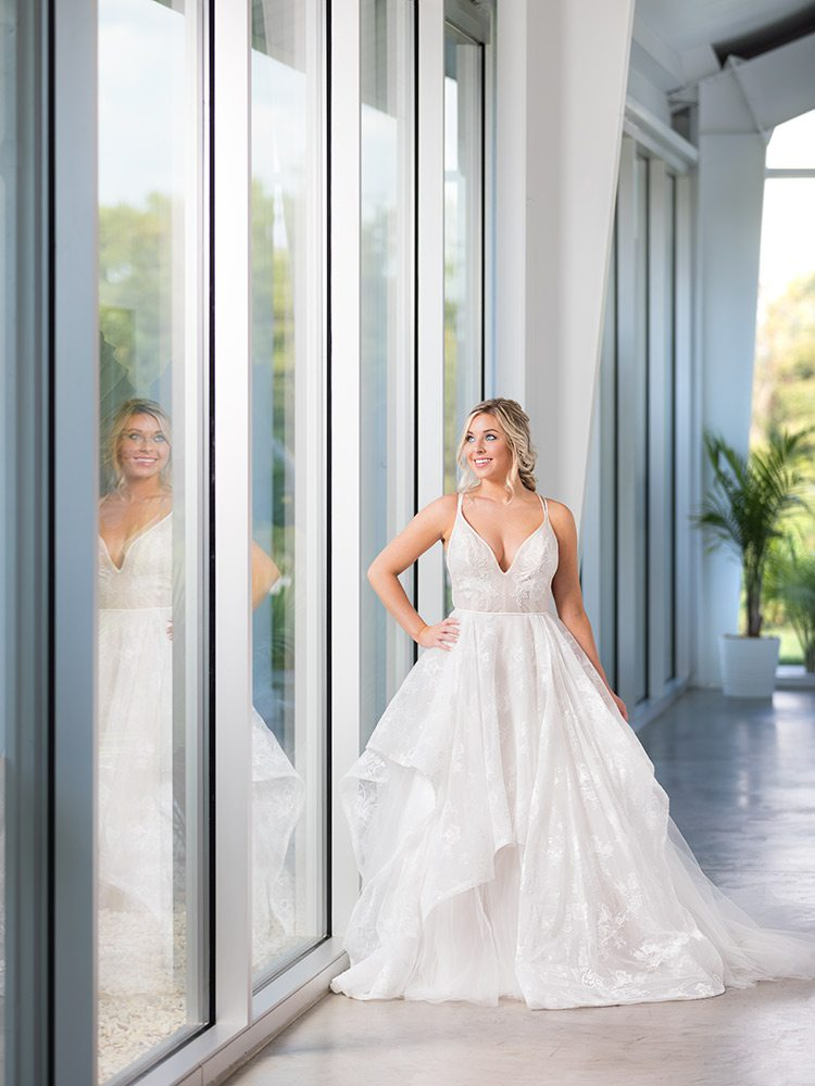 Cashmere wedding ballgown dress with lace overlay at Tesori Bridal Springfield MO