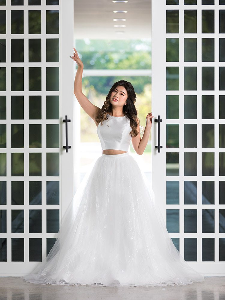 Sherri Hill two-piece wedding dress at Normans Bridal Springfield MO