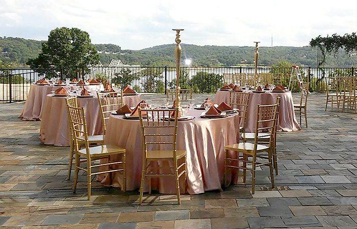 wedding setup overlooking a lake