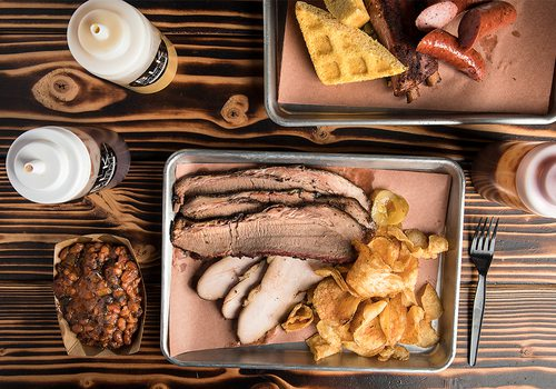 brisket plate and beans from black market smokehouse